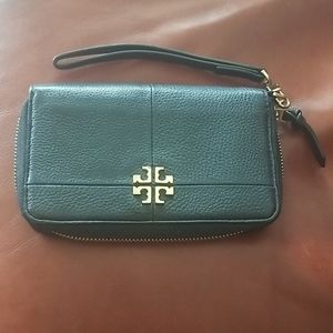 Tory Burch black marbled leather wallet